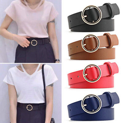 Vintage Women Metal Leather Round Buckle Waist Belt Fashion Boho Waistband UP