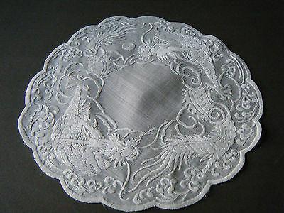 """Vtg Doily Topper Chinese white/ white hand embroidered dragons airy linen 10"""""""