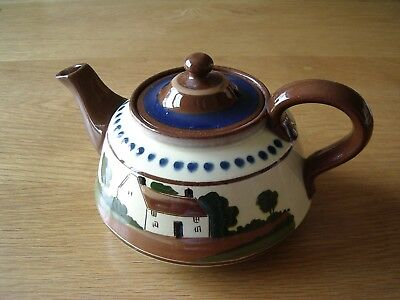 """Vintage Hand Decorated Watcombe Torquay Teapot –Motto """"Du' Ee Have A Cup A Tay"""""""