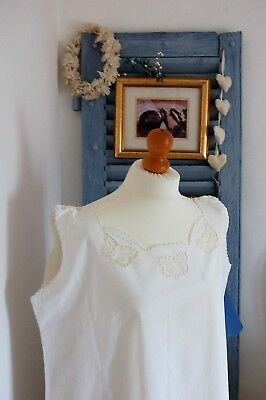 """PAIR Vintage FRENCH Nightdresses Sleeveless XL White Cotton Nightgowns 46"""" Bust"""