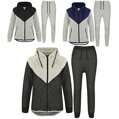 Kids Boys Girls Tracksuit Contrast Panel Hooded Top Bottom Jogging Suit 7-13Year