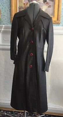 Vintage 60s 70s Womens Long Soft Brown Leather Coat Francis Spain Tagged Sz 12