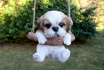 Shih Tzu Puppy Dog Hanging in Swing Figurine Tree Ornament Garden Decor Resin 5""