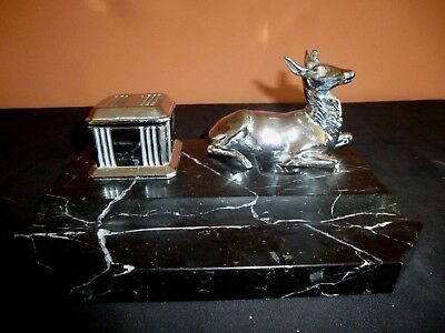 A  French Art Deco Chromed Spelter & Marble Ink Well/Pen Tray