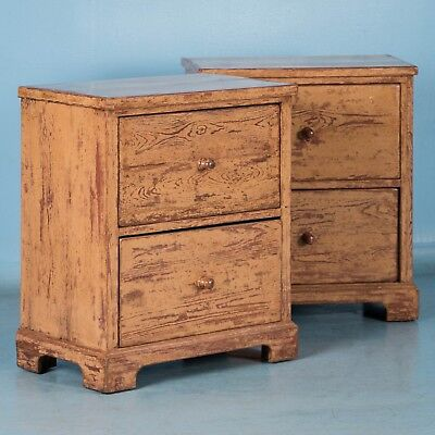 Pair of Original Painted Antique Swedish Two Drawer Cabinets or Nightstands