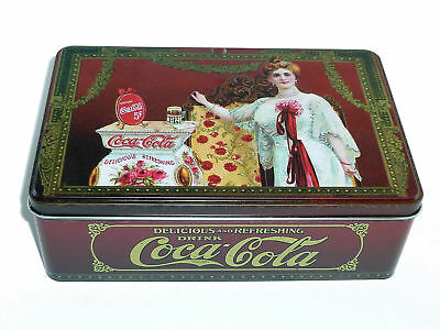 CAJA DECORATIVA de COCA COLA RETRO ALUMINIO MULTIPLES USOS GALLETAS TE COSTURERO