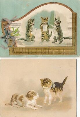 2 Victorian Trade Cards, 3 Kitties Singing, Kitten & Dog, Union Pacific Tea Co.