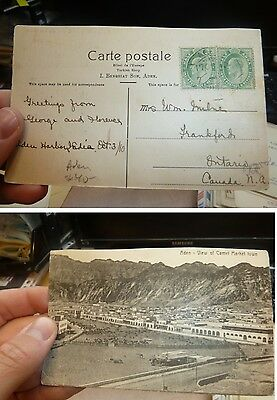 Aden 1910 India used 2x KE 1/2A PPC to Canada (4bef)