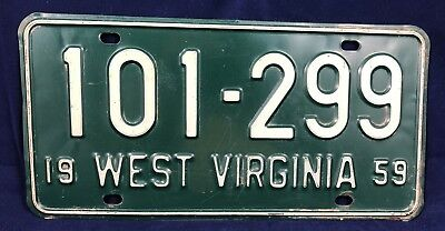 1959 West Virginia License Plate Tag 101-299