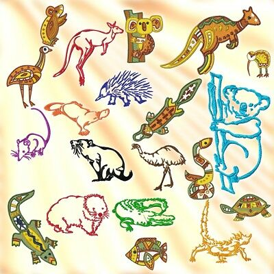 Traditional Australian Animals & Aussie Animals 20 Machine Embroidery Designs Cd