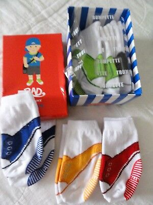 NEW--Rad Johnny Trumpette -BOX of 6 prs of baby socks (look like shoes)  0-12 mo