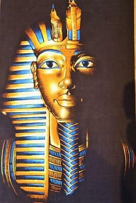 "XL Unique Handmade Papyrus Egyptian King Tutankhamun TUT Mask Painting...25""x17"""