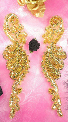 """0034 ~ GOLD BEADED SEQUIN APPLIQUES MIRROR PAIR 6/"""" SEWING CRAFTS MOTIF PATCH :"""