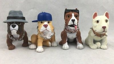 4 Hood Pups Romeo Lucky Duke Tantaran Pit Bull Terrier Dog Hat Cap Figure Lot 2""