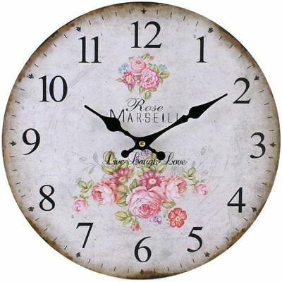 Wall Clock Rose Marseill French Floral Live Love Design Pink 34Cm Diameter