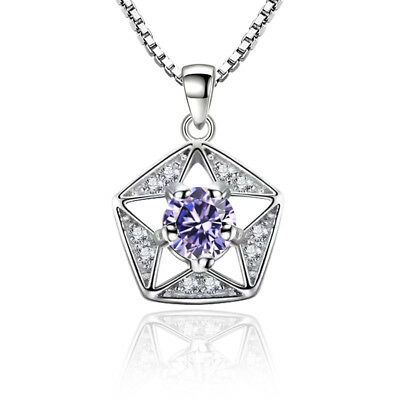 925 Silver Solid Crystal Hollow Star Pendant Necklace For Fashion Women Gift