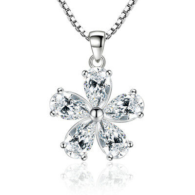 925 Silver Solid Oval Zircon Flower Pendant Necklace For Fashion Women Gift