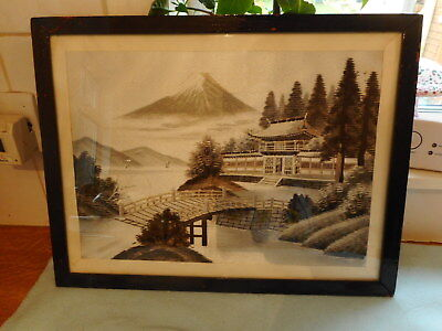 Framed Fine  Japanese  Floral  Silk Embroidery  Mount Fuji Silver Threads