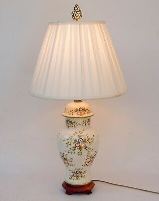 VINTAGE WILDWOOD HAND PAINTED POCELAIN Ginger Jar TABLE LAMP Asian