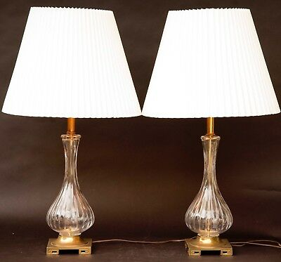 Pair Of Mid Century Crystal Glass And Brass Clear Table Lamps
