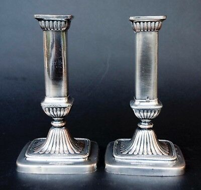 PAIR ENGLISH 19th C. OLD SHEFFIELD PLATE SILVER PLATE CANDLE HOLDERS