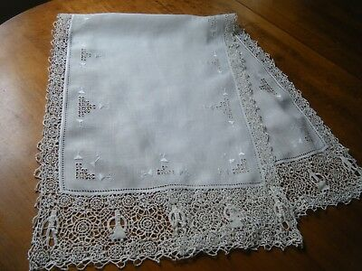 19cAntique Reticella runner combo emb/ery & Figural needle Lace H done italy.