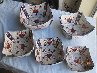 "Complete Set of 5 x Graduated ""Gaudy Welsh"" Ironstone Bowls"