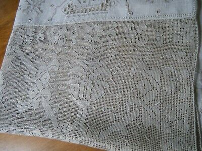 18c Antique banquet Runner linen emb/ery & Leno weave &Ponto artico lace .ITALY