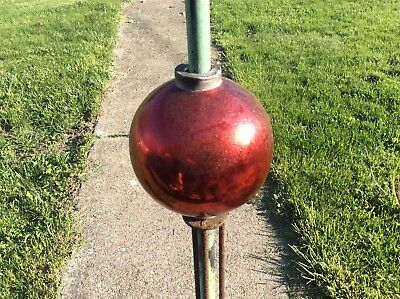Red Mercury Glass Lightning Rod Ball