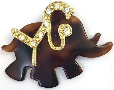 Vintage Elephant Brooch Pin Clear Rhinestone Faux Tortoise Shell Lucite Plastic