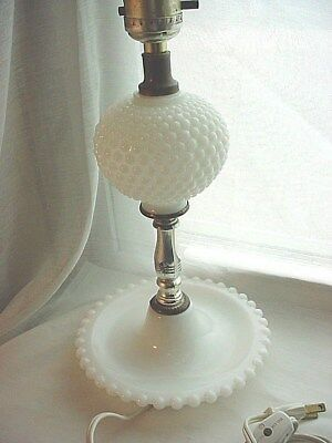 Hobnail Lamp Base 12 Inch White Milk Glass Electric With Cord Switch Vintage