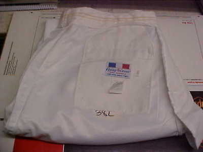 USN Navy Sea Cadet Officer Male Dress White Trousers 38L FREE SHIPPING loc#w36