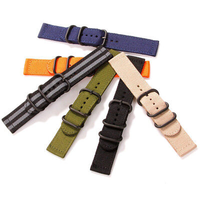 Sports Military Woven Nylon Canvas Fabric Bands Strap Belts Black Buckle 18-24mm