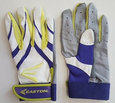 1pr Easton Synergy II Womens Medium Softball Batting Gloves White/ Purple/ Optic