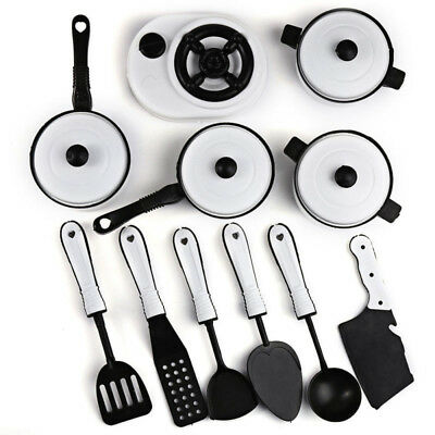 11pcs/set  Plastic Kitchen Cooking Food Tableware Pretend Role Play Toy for Kids