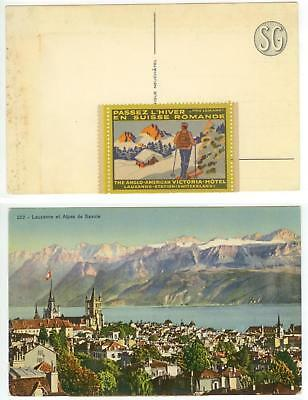 c1910 Lausanne Switzerland Anglo-American Victoria-Hotel label on pc