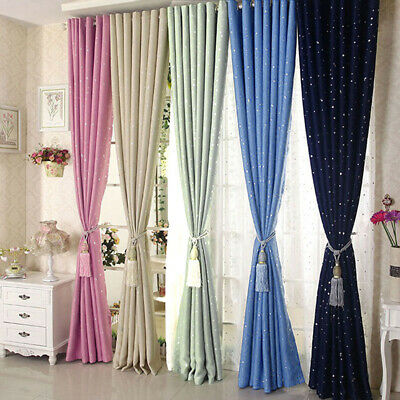 Blackout Curtain Star Printing Boys Girls Bedroom Living Room Eyelet Drapes 1PC