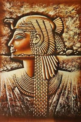 "XL Unique Handmade Papyrus Egyptian Queen Cleopatra Mask Painting_25""x17"" Inches"