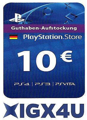 PSN Playstation Network Card Key 10€ 10 EUR EURO Prepaid Card - PS3 PS4 PSP - DE