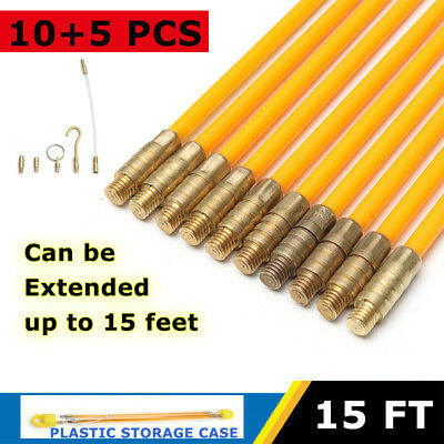 10pcs 15FT Fiberglass Cable Running Rods Kit Fish Tape Electrical Wire Coaxial