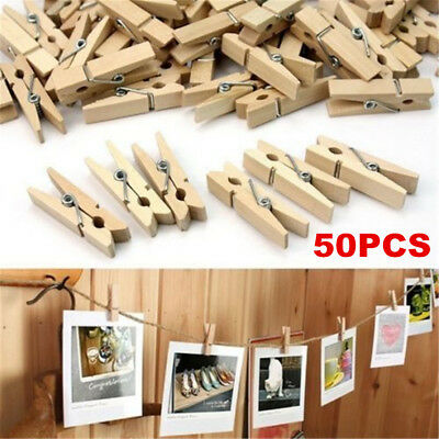 50Pcs Mini 35mm Natural Wooden Clothes Photo Paper Peg Clothespin Craft Clips