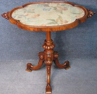 Victorian Converted Occasional Table With Carved Solid Walnut Tripod Base