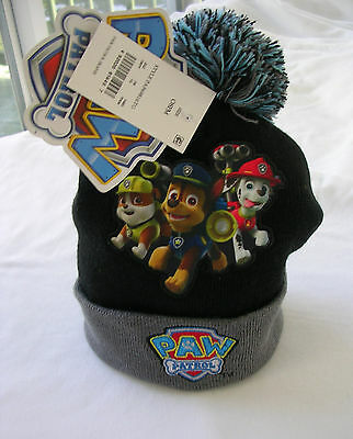"""paw Patrol""  Boys Beanie Hat - Black/brown  -One Size ( Ages 4-7 )  Nwt"