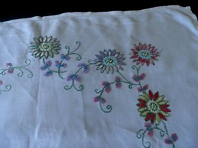 "SUPERB VINTAGE HAND EMBROIDERED LINEN TABLE CLOTH 32"" by 32"""
