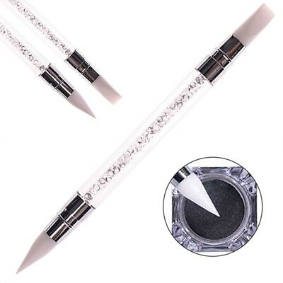 Double Way Rhinestone Nail Art Brush Pen Silicone Head Carving Dotting Tool