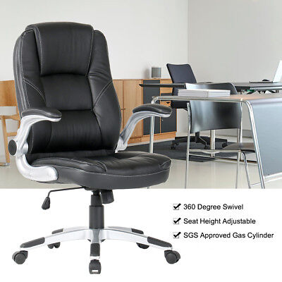 YAMASORO Computer Executive Office Chair PU Leather Swivel High Back Flip Up Arm