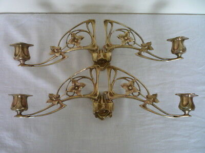 Antique French Art Nouveau Double Candlestick Holder Wall Sconce Piano Candle