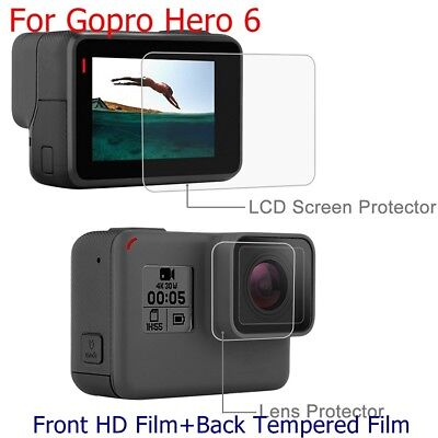 For Gopro Hero 6 Front HD Film+Back Real Tempered Film LCD Screen Lens Protector