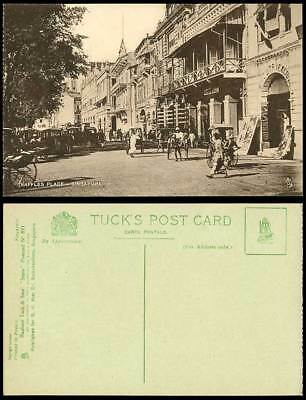 Singapore Old Tuck's Postcard RAFFLES PLACE Street Scene Rickshaw Native Coolies
