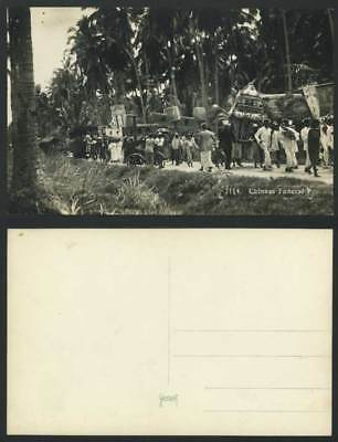 Singapore Old Real Photo Postcard Chinese Funeral Procession Bikes Bicycle Band
